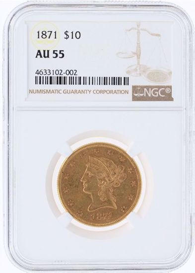 Picture of 1871 $10 Liberty AU55 NGC