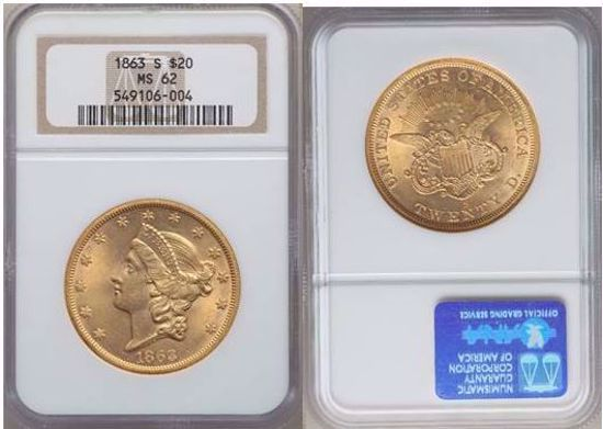Picture of 1863-S $20 Liberty MS62 NGC