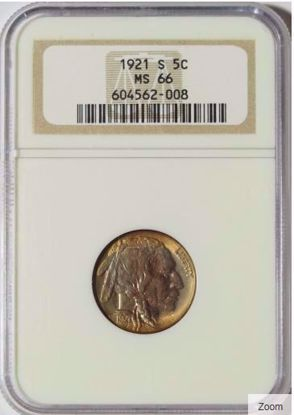 Picture of 1921-S Buffalo Nickel MS66 NGC