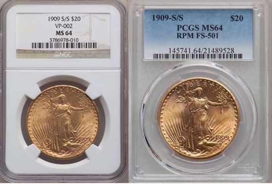 Picture of 1909-S/S $20 St. Gaudens MS64 PCGS/NGC FS-501 Repunched Mintmark