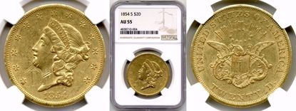 Picture of 1854-S $20 Liberty AU55 NGC