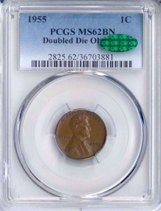 Picture of 1955 DDO Lincoln Cent MS62BN PCGS CAC