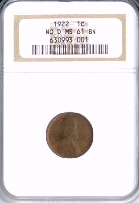 Picture of 1922 Lincoln Cent No D MS61BN NGC