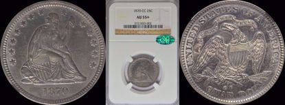 Picture of 1870-CC Liberty Seated Quarter AU55+ NGC CAC