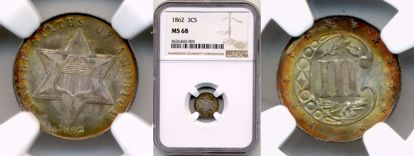 Picture of 1862 Three Cent Silver MS68 NGC