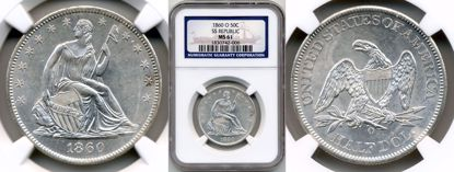 Picture of 1860-O Liberty Seated Half Dollar MS61 NGC SS Republic