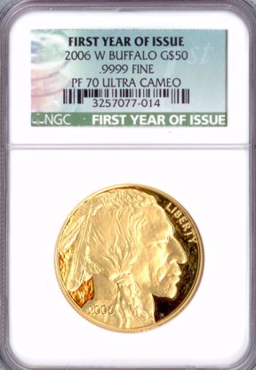 Picture of 2006-W G$50 Buffalo First Year of Issue PF70UCAM NGC
