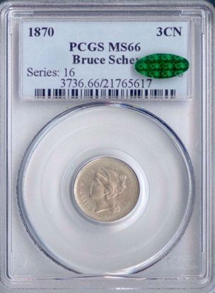 Picture of 1870 Three Cent Nickel MS66 PCGS CAC