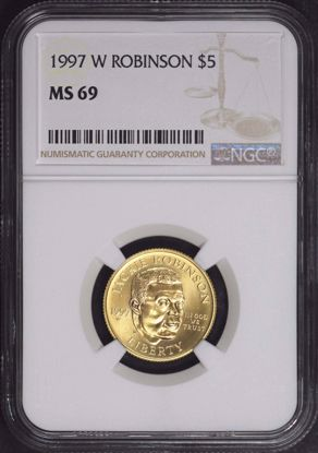 Picture of 1997-W $5 Jackie Robinson Gold Five Dollar MS69 NGC