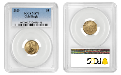 Picture of 2020 $5 Gold American Eagle MS70 PCGS Standard Blue Label