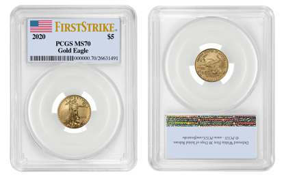 Picture of 2020 $5 Gold American Eagle MS70 PCGS First Strike Flag Label