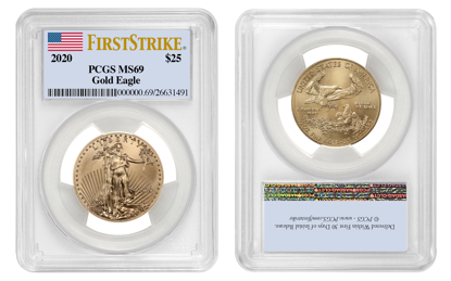 Picture of 2020 $25 Gold American Eagle MS69 PCGS First Strike Flag Label