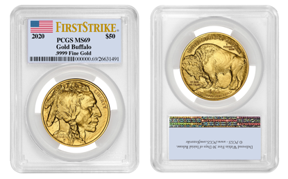 Picture of 2020 $50 Gold Buffalo MS69 PCGS First Strike Flag Label