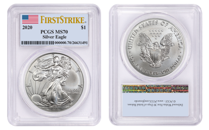 Picture of 2020 American Silver Eagle MS70 PCGS First Strike Flag Label