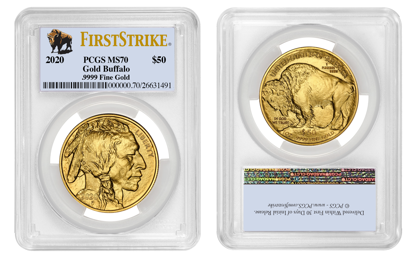 Picture of 2020 $50 Gold Buffalo MS70 PCGS First Strike Buffalo Label