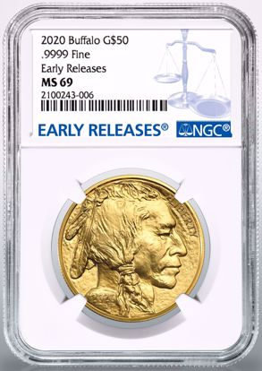 Picture of 2020 $50 Gold Buffalo ER MS69 NGC White