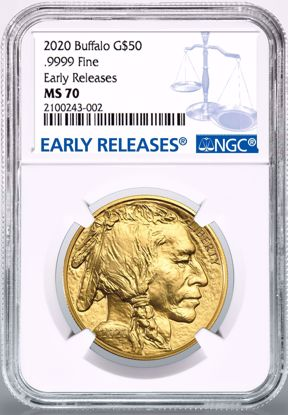 Picture of 2020 $50 Gold Buffalo ER MS70 NGC White