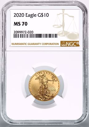 Picture of 2020 $10 Gold American Eagle MS70 NGC