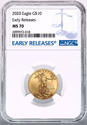 Picture of 2020 $10 Gold American Eagle ER MS70 NGC