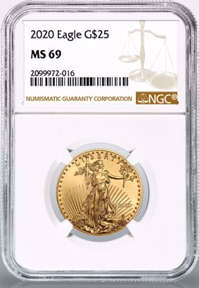 Picture of 2020 $25 Gold American Eagle MS69 NGC