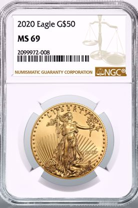 Picture of 2020 $50 Gold American Eagle MS69 NGC