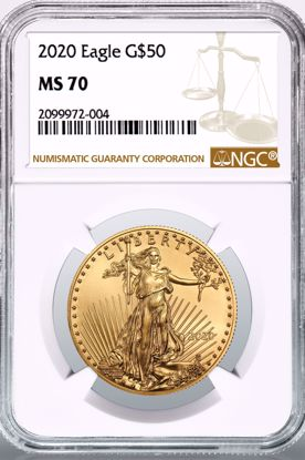Picture of 2020 $50 Gold American Eagle MS70 NGC