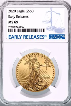 Picture of 2020 $50 Gold American Eagle ER MS69 NGC