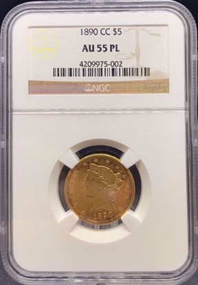 Picture of 1890-CC $5 Liberty AU55PL NGC