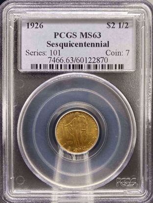 Picture of 1926 $2.5 Sesquicentennial MS63 PCGS