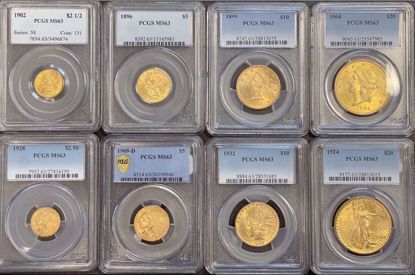 Picture of Eight Piece Gold Set MS63 PCGS / NGC