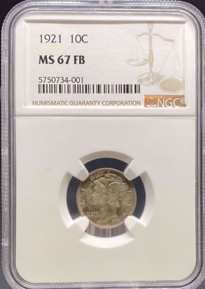 Picture of 1921 Mercury Dime MS67FB NGC