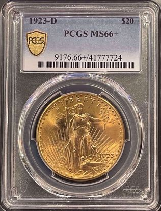 Picture of 1923-D $20 St Gaudens MS66+ PCGS