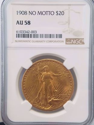 Picture of 1908 NM $20 St Gaudens AU58 NGC