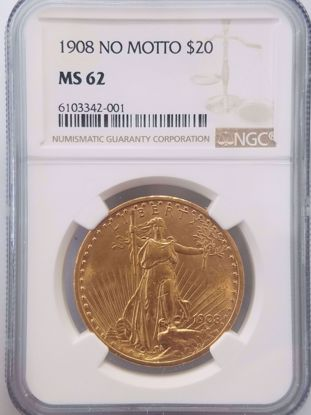Picture of 1908 NM $20 St Gaudens MS62 NGC