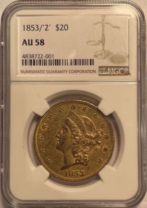 Picture of 1853/2 $20 Liberty AU58 NGC