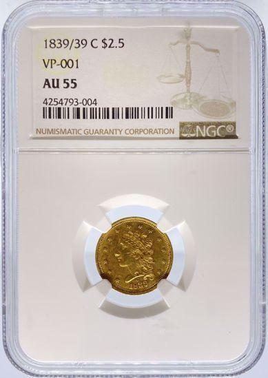 Picture of 1839/39-C $2.5 Classic Quarter Eagle VP-001 AU55 NGC